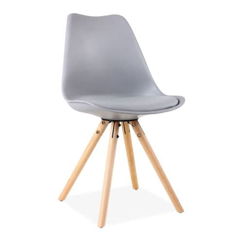 x2 Tulip Dining Chairs, in Grey with Wooden Legs style A