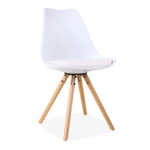 x2 Tulip Dining Chairs, in White with Wooden Legs style A