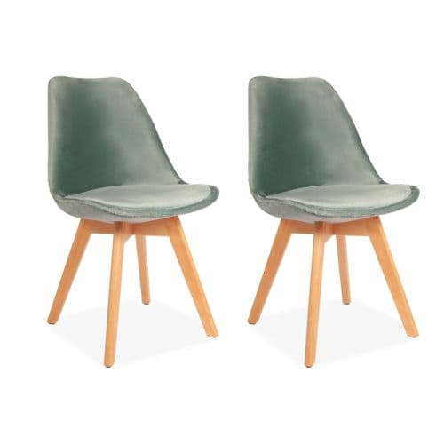 x2 Green Velvet Tulip Dining Chairs, with Beech Legs