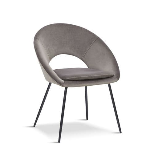 x2 Grey Open Back Dining Chair With black legs