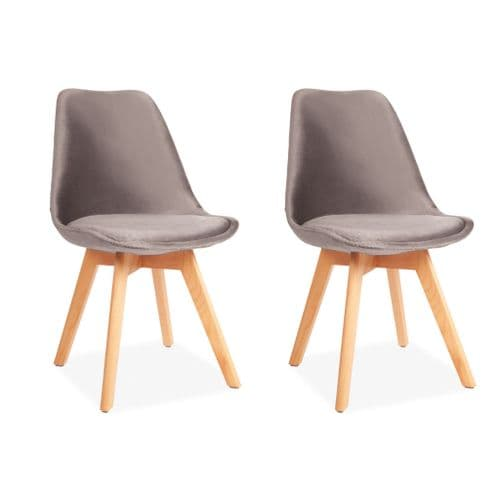 x2 Light Grey Velvet Tulip Dining Chairs, with Beech Legs