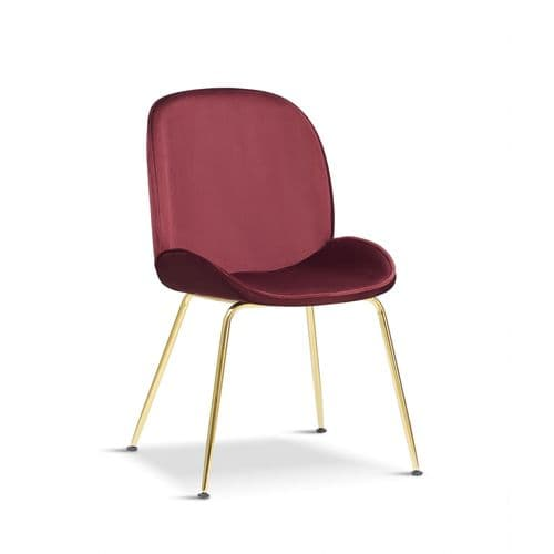 x2 Mmilo Journey Bordeaux Red Chair with  Gold Legs