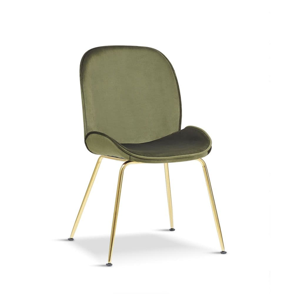 x2 Mmilo Journey Olive Green Chair with Gold Legs