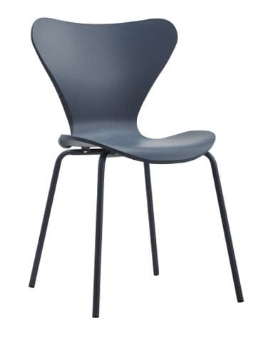 x2 Modern Stackable Dining Chair Navy Blue