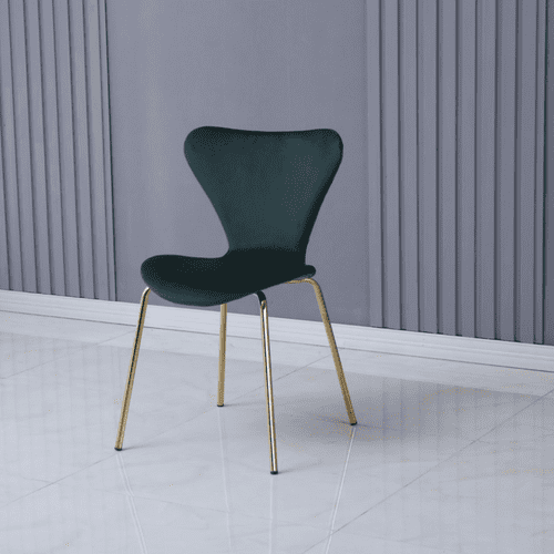 x2 Modern Velvet Green Stackable Dining Chair with Gold legs