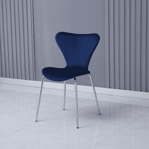 x2 Modern Velvet Navy Blue Stackable Dining Chair with Sliver legs