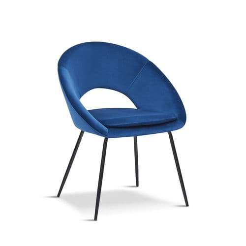 x2 New  Open Back Blue Dining Chair With black legs