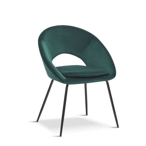 x2 New Open Back Green Dining Chair with black legs