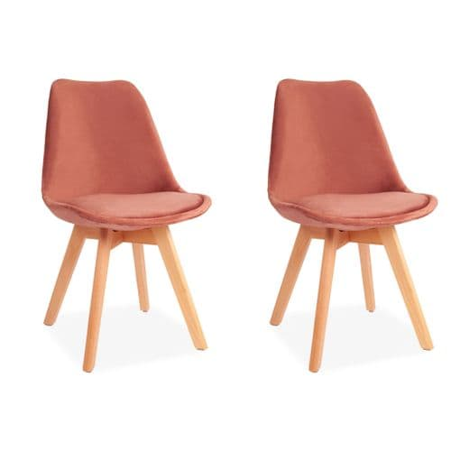 x2 Pink Velvet Tulip Dining Chair Chairs, with Beech Legs