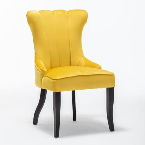 x2 Victoria Velvet Yellow Dining Chair