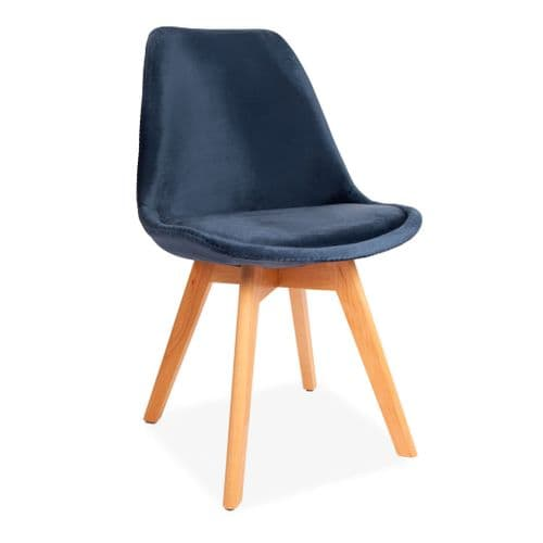 x4 Blue Tulip Velvet dining chairs, with Beech Legs