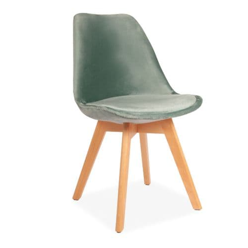 x4 Green Velvet Tulip Dining Chairs, with Beech Legs