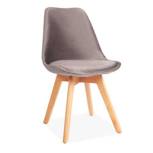 x4 Light Grey Velvet Tulip Dining Chairs, with Beech Legs
