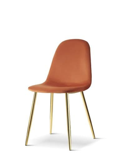 x4 Mmilo Upholstered Eiffel Dining Chair Gold Legs - Orange