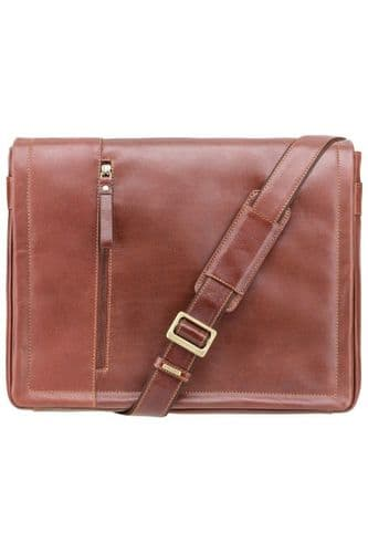 Enzo Leather Laptop Messenger Case in Tan