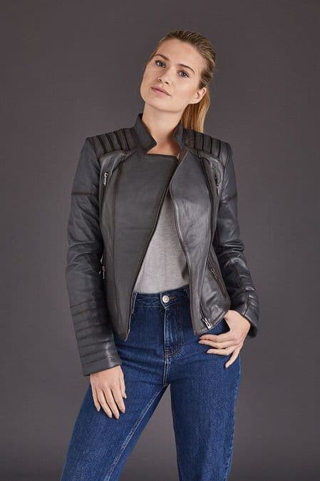 Ladies Leather Jacket Grey