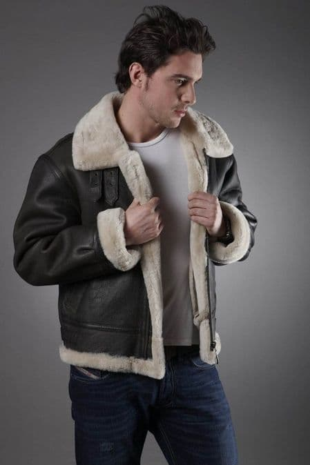 Men's Cream Sheepskin Jacket