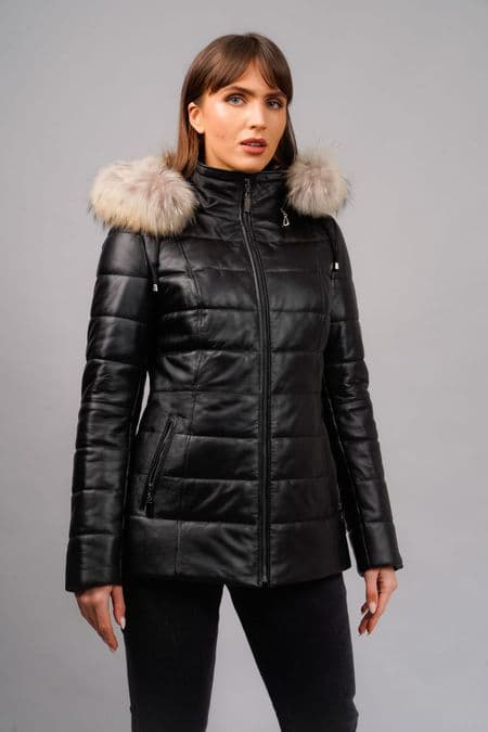 Quilted Leather  Hooded  Fur
