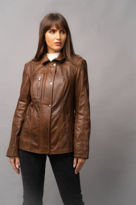 Women's Leather Coat Tan
