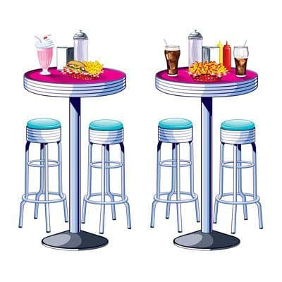 50s Soda Shop Tables & Stools Props