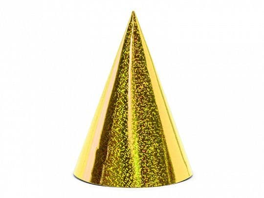 6 Gold Holographic Party Hats