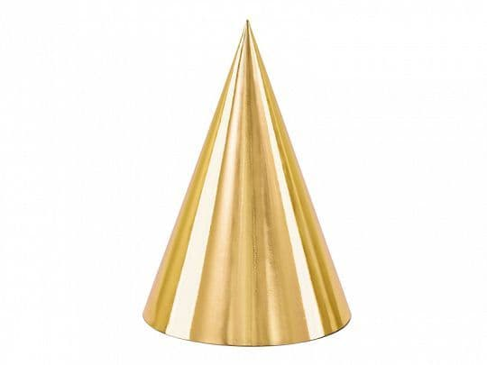 6 Gold Party Hats
