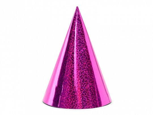 6 Pink Holographic Party Hats