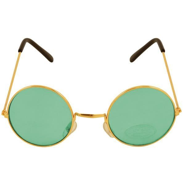 60s Novelty Gold Frame Glasses  with Green Lens