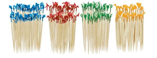 Assorted Wooden Cocktail sticks with Cello frills
