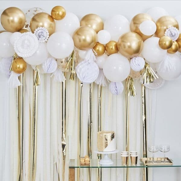 Balloon and Fan Garland Party Backdrop - Gold and White