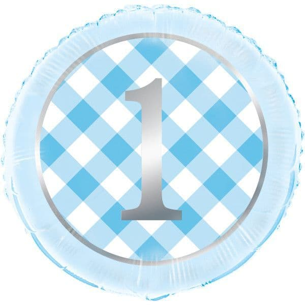 Blue Gingham First Birthday Foil