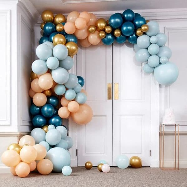 DELUXE  TEAL AND GOLD CHROME BALLOON ARCH KIT