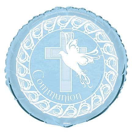 Dove Cross Blue Communion Foil Balloon
