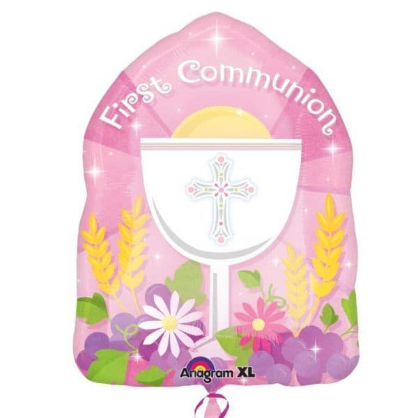 First Communion Pink Jr. Shape Balloon