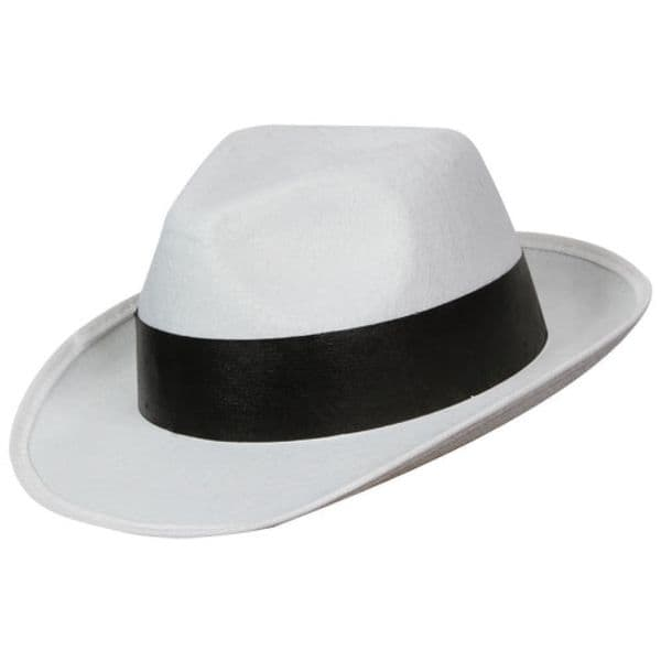 Ganster Hat - White with Black Band