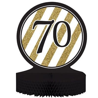 Gold & Black Honeycomb Centrepiece 70th