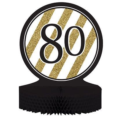 Gold & Black Honeycomb Centrepiece 80th