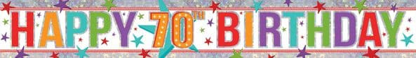 Holographic 70th Birthday Banner