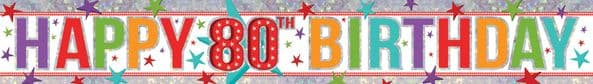 Holographic 80th Birthday Banner