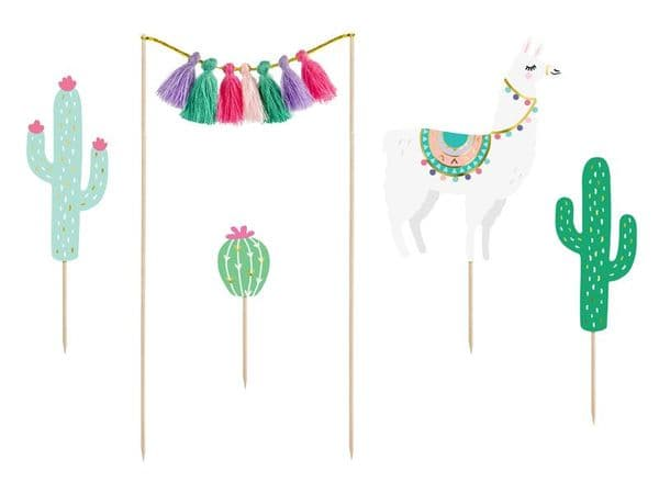Llama Party  Cake Toppers