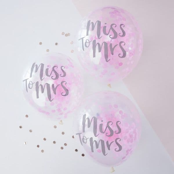 Miss To Mrs Confetti Balloons