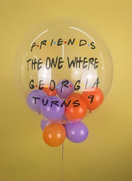 Personalised FRIENDS 'The One Where...' Clear Orbz Balloon