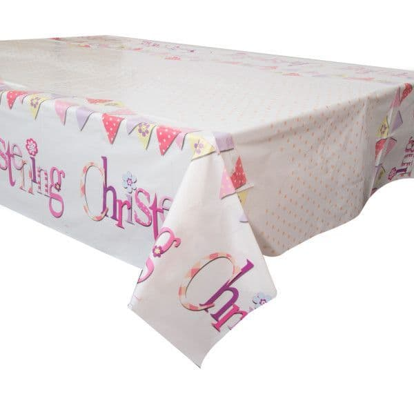 Pink Christening Table Cover