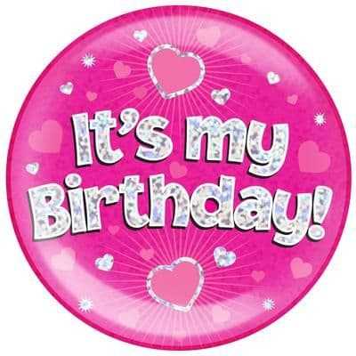 Pink Happy Birthday Jumbo Badge