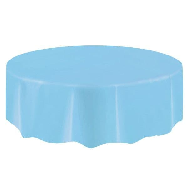 Powder Blue Round Plastic Table Cover
