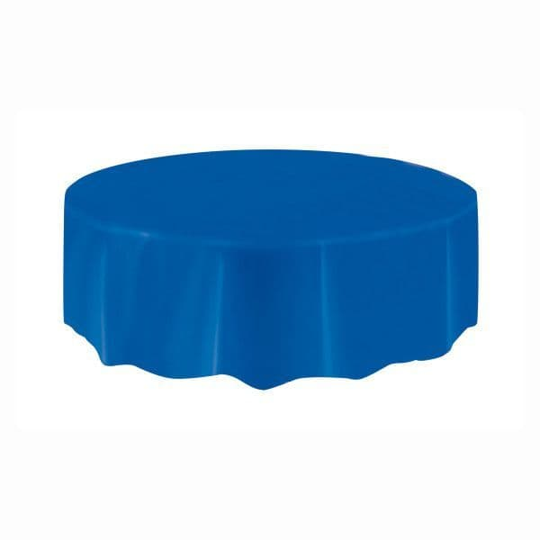 Royal Blue Round Plastic Table Cover