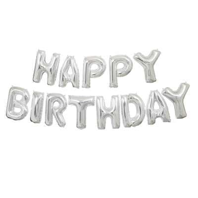 Silver Happy Birthday Letter Balloon Banner Kit 14