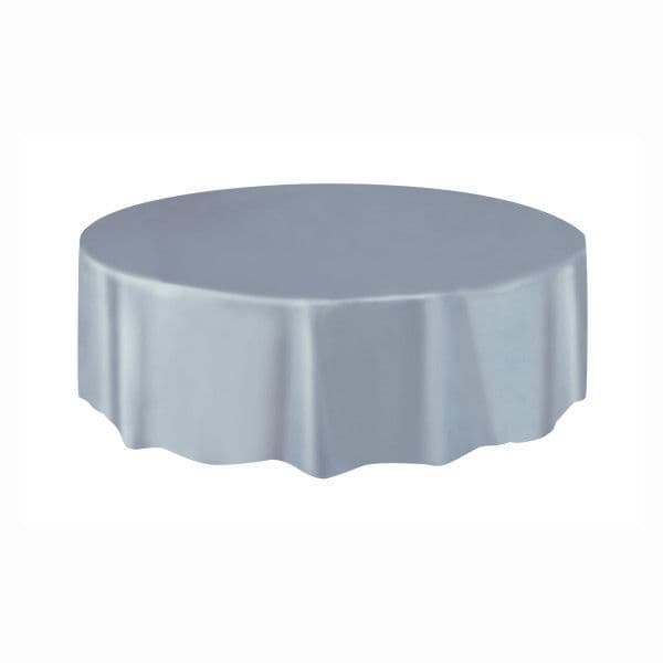 Silver Round Plastic Table Cover