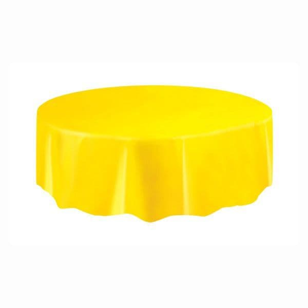 Sunflower Yellow Round Plastic Table Cover