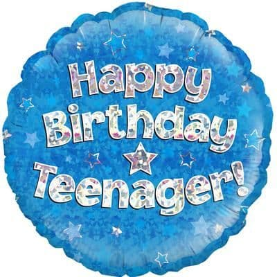 Teenager Blue Holographic Balloon